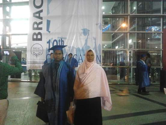 Me with my Dear Mother at  BRAC University 10th Convocation 2015 on my Masters in Procurement and Supply Management(MPSM) dgree. My most memorable day in my life.